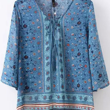 Blue Summer Chiffon Floral Printed Belt Blouse