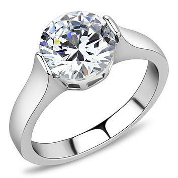 A Perfect 4CT Round Cut Russian Lab Diamond Solitaire Engagement Ring