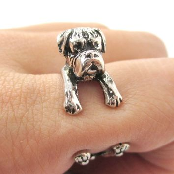 3D Boxer Dog Shaped Animal Wrap Ring in Shiny Silver | Sizes 4 to 8.5