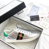 GUCCI Ace Leather Silver Low-Top Sneakers