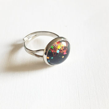 Statement Ring , Thumb Ring , Friendship Ring , Adjustable Ring , Bridal Shower Gift , bff ring , paint splatter ring , hand made