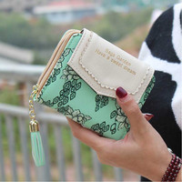 Vintage Women Flower Wallet Short Design Floral  Purse Zipper Credit Card Holder  Girl Peony Tassel Wallets