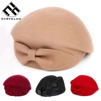2016 New Fashion Brand Winter Beret Hat For Women Beret Hat Female Beanie Cap Flower French Trilby Wool Soft Stewardess Hat