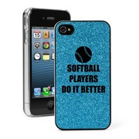 Light Blue Apple iPhone 4 4S 4G Glitter Bling Hard Case Cover G49 Softball Players Do It Better