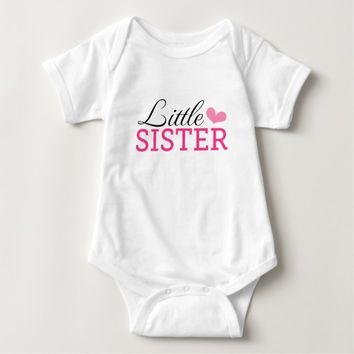 Cute little sister jumpsuit with pink heart t shirt