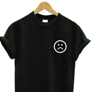 sad face pocket Print Women tshirt Cotton Casual Funny t shirts For Lady Top Tee Hipster Drop Ship Z-459