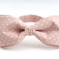 Men's Bow Tie by BartekDesign: pre tied nude soft pink dusty pink skin color dots wedding grooms gift women