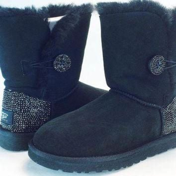 ICIK8X2 Custom Bailey Buttom UGG Boots made with Swarovski Crystals Free: Shipping, Repair Kit