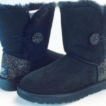 CREY1O Custom Bailey Buttom UGG Boots made with Swarovski Crystals Free: Shipping, Repair Kit