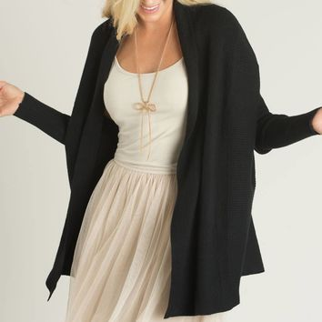 Daphne Black Ribbed Cardigan