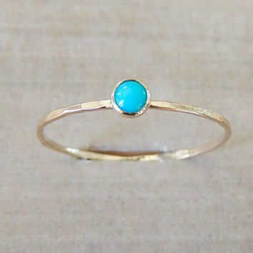 Turquoise Ring, Stacking Ring, Rose Gold Ring, Yellow Gold Ring, Sleeping Beauty, Boho Jewelry, Beach Wedding Ring, Bridal Shower Accessory