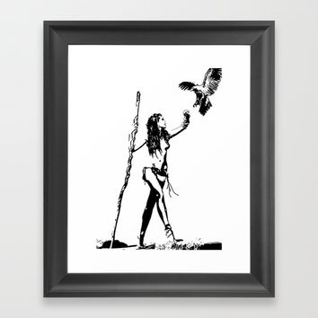 Minimalist sketch the falconer Framed Art Print by Casemiro Arts - Peter Reiss