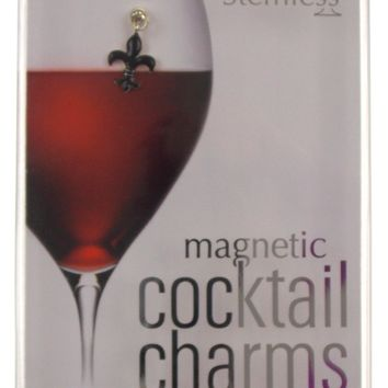 Going Stemless Fleur De Lis Wine Charms Cocktail Magnetic Set 6 Drink