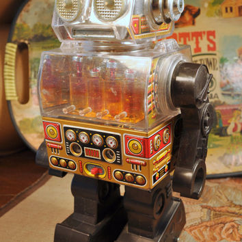 Vintage Piston Robot Toy ~ Made in Japan by Horikawa circa 1970s ~ Not Working