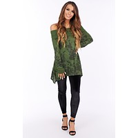Since You Are Gone Cowl Neck Top (Olive)