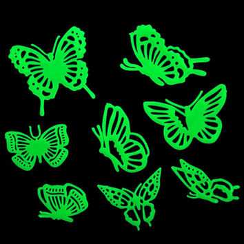 New Kids Bedroom Home Decor Stickers Butterflies Glow in the Dark Fluorescent Plastic Home Decoration Wall Sticker
