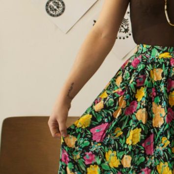 She Ate Flowers Everyday Vintage Button Down Floral Cotton Skirt, Medium, Gift for her, Summer Skirt, Granny Skirt, Boho Chic, Gypsy Style