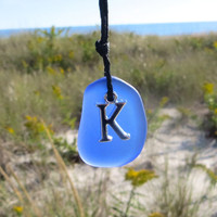 Cobalt Blue Sea Glass Initial  Necklace by WaveofLife Custom