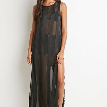 Shadow-Striped High-Slit Maxi Dress | Forever 21 - 2000143264