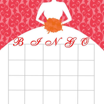 Red Bridal Shower Personalized Bingo Cards