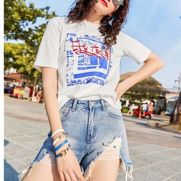 Fashion Women short-sleeved printed T shirt Top tee