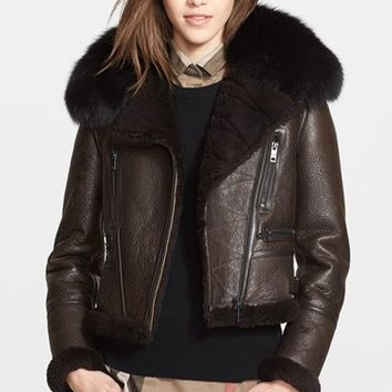 Women's Burberry Brit 'Salsford' Genuine Fox Fur & Shearling Trim Leather Jacket, Size 2 - Brown