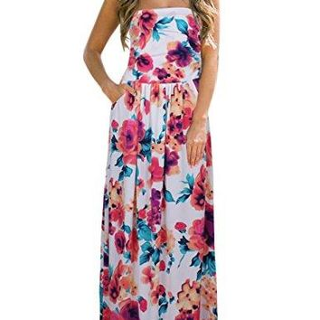 GloryStar Womens Summer Boho Strapless Midi Dresses High Waist Vintage Floral Print Maxi Long Dress with Pockets