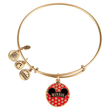 Disney Parks Minnie Ear Charm Bangle Bracelet Alex & Ani Gold New With Tags