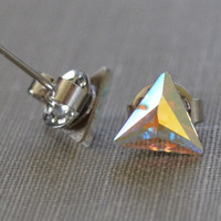 Triangle Rhinestone Studs, Cosmic Delta, Crystal Studs, Swarvoski Rhinestone, Bridesmaid Earrings, Petite and Dainty