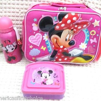 Disney Minnie Mouse Lunch box, Water Bottle, and Sandwich Case-Brand New w/ Tag!