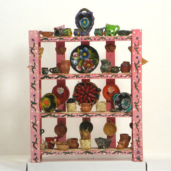 Mini Cocina Collection Wooden Shelf (Kitchen) Miniature Display – 51 pcs Handcrafted Mexican Folk Art -