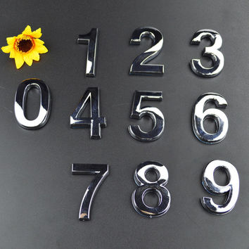 Only For 1Pcs Silver House Door Address Plaque Number Digits Sticker Plate Sign Size 50x30x6mm