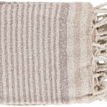 Surya Treasure Modern Woven Throw - Neutral, Gray