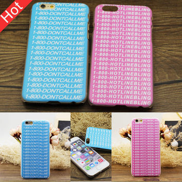 New Hotline Bling words Pattern design Phone Case for iPhone 5 5s 6 6s 6 Plus +Nice Gift Box !