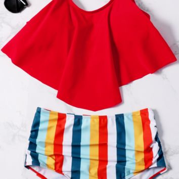 Red Flounce Stripe High Waisted Bikini Sets