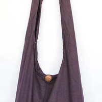 "YAAMSTORE ""basic purple"" sling  shoulder bag hippie hobo shopping travel carrying grocery school purse  MEDIUM plain simple sb003"