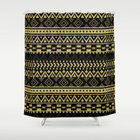 Tribal Ink Shower Curtain by Louise Machado