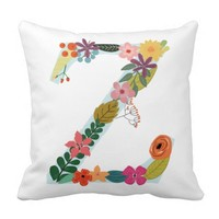 Flower Monogram Z Throw Pillows