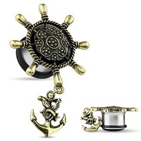 Ship Anchor Wheel Ear Plug Ship Wheel with Anchor Dangle Single Flare Plug