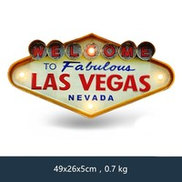 Las Vegas Welcome Neon Sign for Bar Vintage Home Decor Painting Illuminated Hanging Metal Signs Iron Pub Cafe Wall Decoration