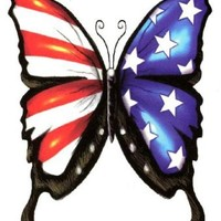 "USA American Flag Freedom Butterfly Temporary Body Art Tattoos 4"" x 3"""