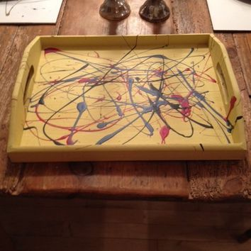 hand painted wood trays