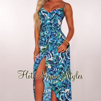 Blue Green Tropical Faux Wrap Maxi Dress