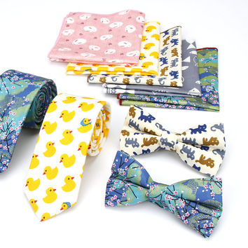 Lot 3PCS ( Ties Bowtie Pocket Square ) Men's Neck Tie Set Cat Duck Fish Animal Print Cotton Skinny Slim Necktie Bow Hankies Sets