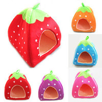 L/M/S Soft Strawberry Pet Bed Warm Cushion Basket 4 colors hot sale