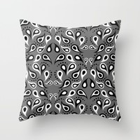 Paisley Abstract Design Grey Throw Pillow by WonderfulDreamPicture