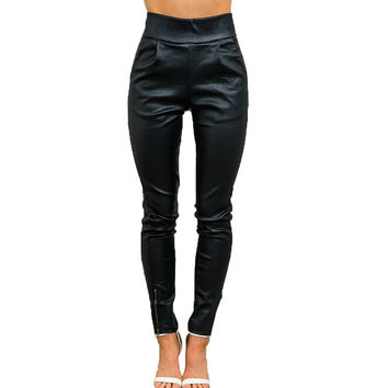P183 Vintage High Waisted Ankle-Length Side Zipper Autumn Winter Women Faux PU Leather Pants Trousers Plus Size S-XL 2016 New