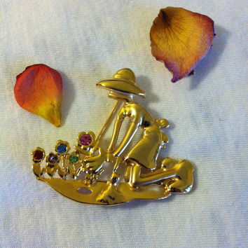 Gardening Lovers Pin Vintage Gold Lady Tending Her Garden Brooch Woman and Flowers Figural Pin With Red Purple Blue Green Pink Rhinestones