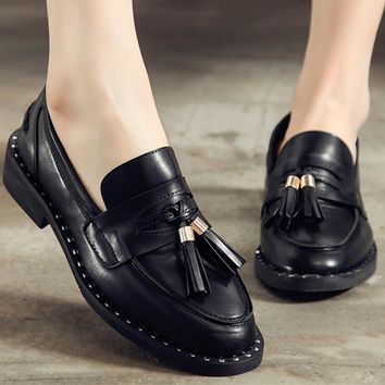 Women's shoes Loafers causal round toe sewing tassel womens shoes shoes woman 2018 brown/black Wear-resistant zapatos mujer