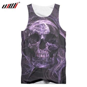 Ppurple skull men's T-shirt 3D printing O-ring sleeveless vest bodybuilding clothes fashion casual Tank Tops